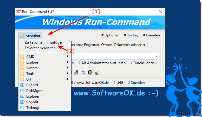Favoriten Befehl fürs Ausführen-Dialog in Windows!