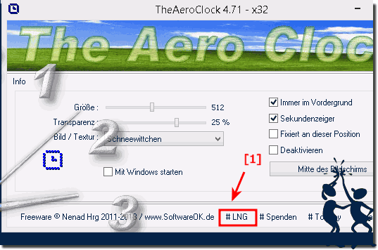 Easy Switch or Change the Language in The Aero Desktop Clock!