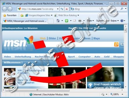TDSL Test im Internet Browser z.B. Internet-Exploret 8 von Windows-7