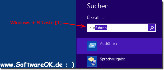 Ausführen-Dialog über Start (Menu) in Windows 8 starten