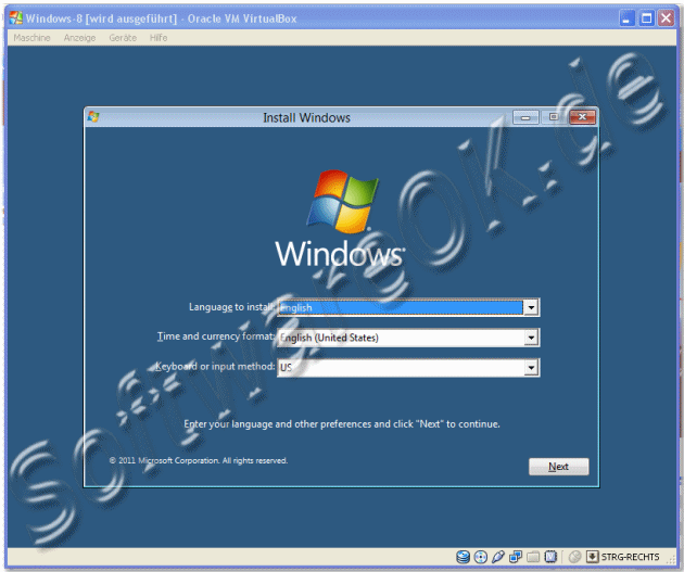 Installation von Windows-8 auf Oracle VM VirtualBox