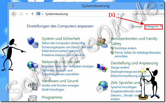 Systemsteurung Windows 9 Ansicht:Kategorien