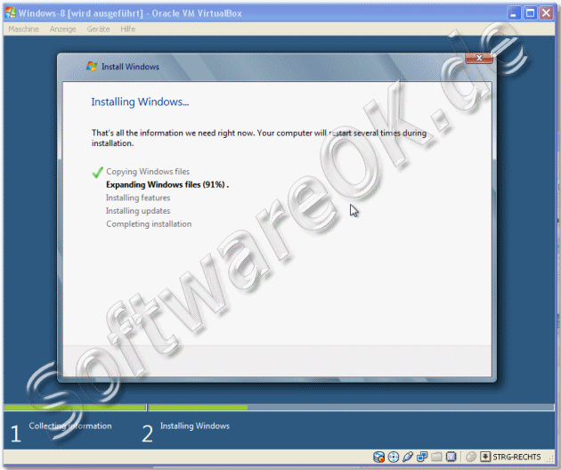 Windows-8 in Oracle VM VirtualBox installieren