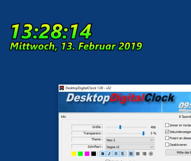 Digitalen Desktopuhr für alle Windows OS